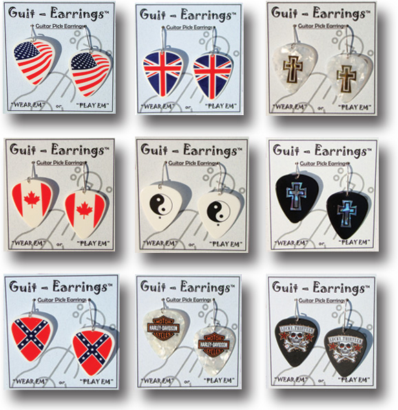 Guit-Earrings Styles::American, British, Canadian, Rebel Flags, Peace Symbol, Crosses, etc.